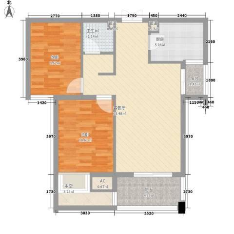 青山湾2室1厅1卫1厨92.00㎡户型图