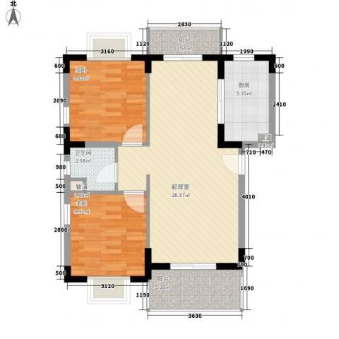 澜湖岸边2室0厅1卫1厨69.62㎡户型图