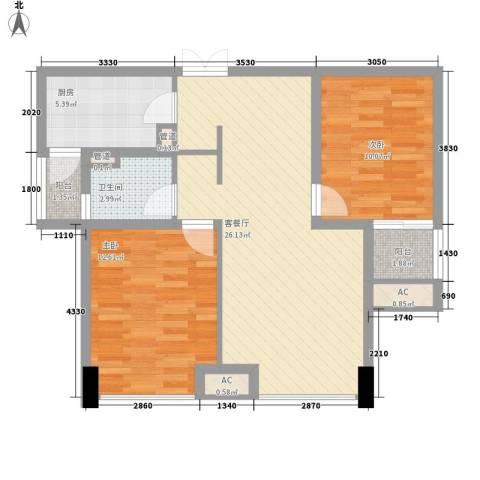 青山湾2室1厅1卫1厨90.00㎡户型图