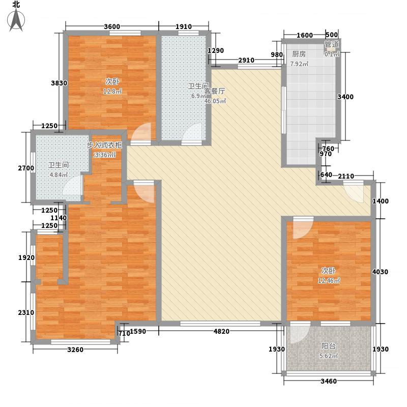 东润国际新城14.43㎡C户型3室2厅2卫1厨