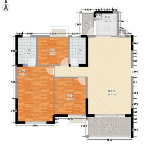 鹿港小镇3室1厅2卫1厨132.00㎡户型图