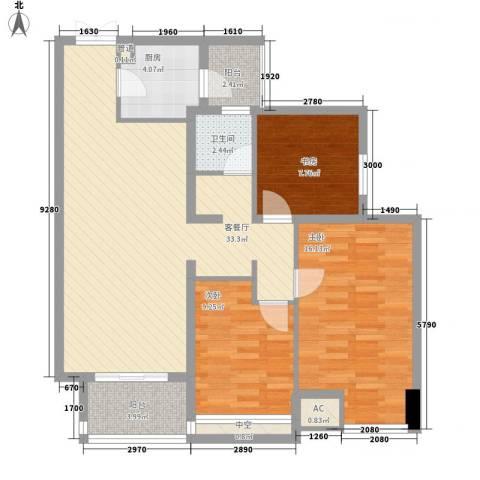 青山湾3室1厅1卫1厨117.00㎡户型图