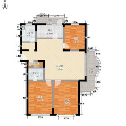 申达枫桥苑3室0厅2卫1厨142.00㎡户型图