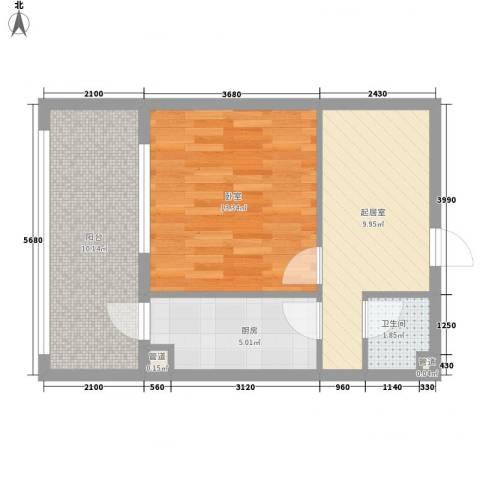 家园新城1卫1厨40.47㎡户型图