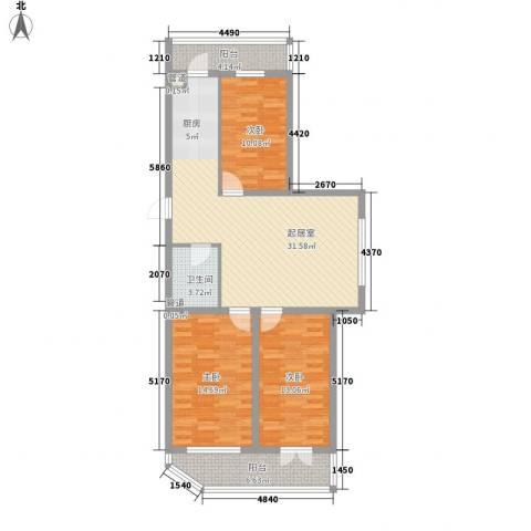 家园新城3室0厅1卫0厨84.10㎡户型图