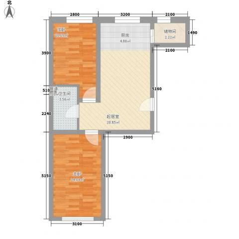 辽东一区2室0厅1卫0厨74.00㎡户型图