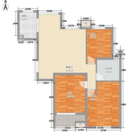 青山湾3室1厅1卫1厨122.00㎡户型图
