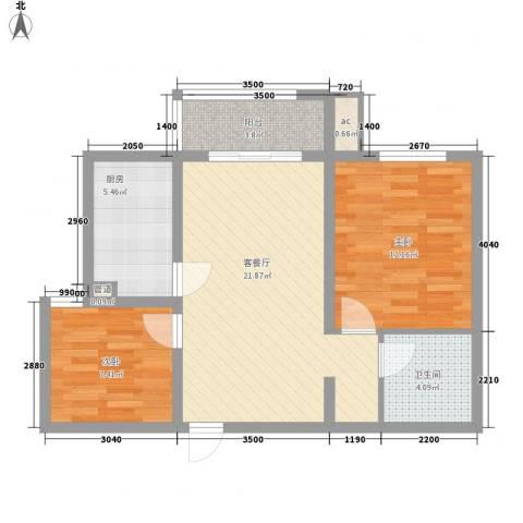 汇林阁2室1厅1卫1厨81.00㎡户型图