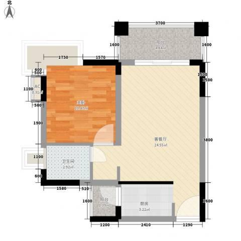 五龙桂园1室1厅1卫0厨57.00㎡户型图
