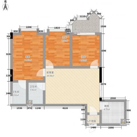 华景新城逸宁居3室0厅2卫1厨86.00㎡户型图