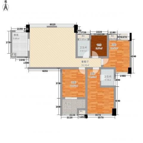 青山湾4室1厅2卫1厨135.00㎡户型图