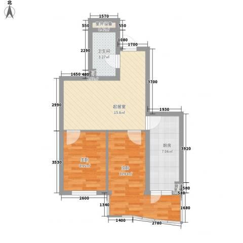 东泰金谷2室0厅1卫1厨69.00㎡户型图
