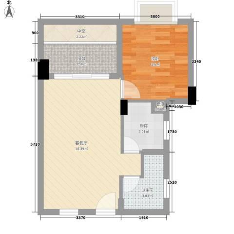 合兴福邸1室1厅1卫1厨50.00㎡户型图