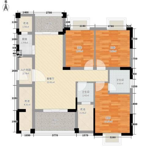 东方蓝城一号3室1厅2卫1厨112.00㎡户型图