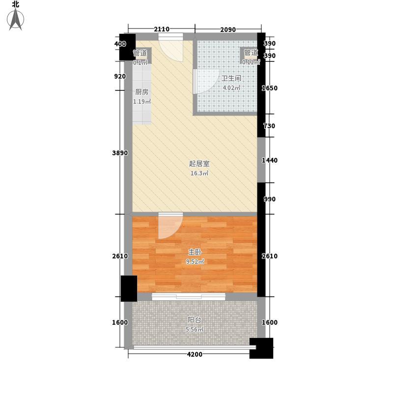 上坤公园天地48.00㎡B1户型1室1厅1卫1厨