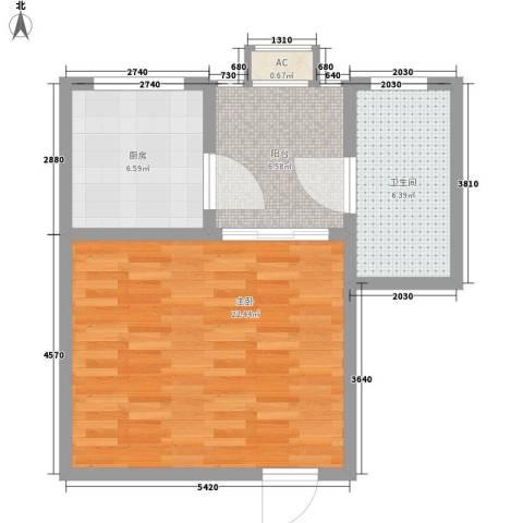 康馨里居1室0厅1卫1厨42.67㎡户型图