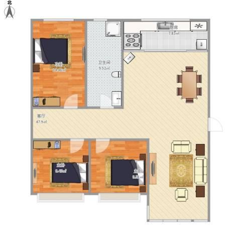 天顺花园3室1厅1卫1厨131.00㎡户型图