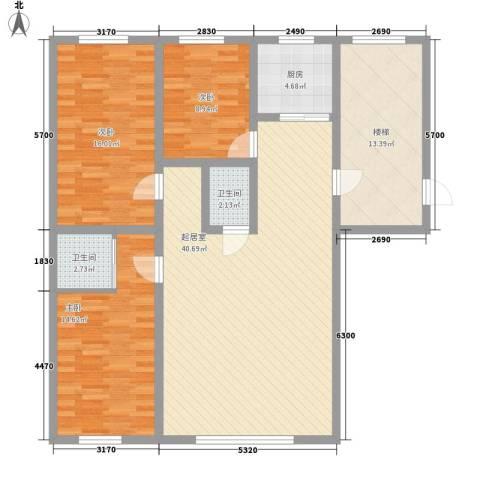 水宜家苑3室0厅2卫1厨133.00㎡户型图