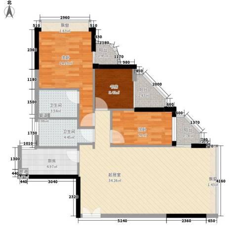 碧水明筑3室0厅2卫1厨112.00㎡户型图