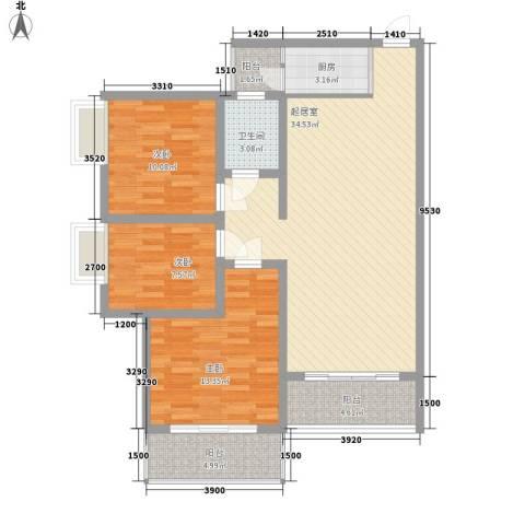 康馨里居3室0厅1卫1厨83.03㎡户型图