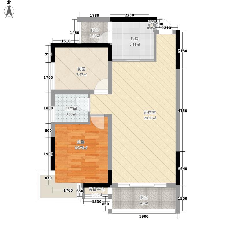 领域882栋B座05单元 1室2厅2卫1厨 76.08㎡