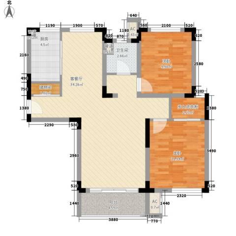凯运天地2室1厅1卫1厨105.00㎡户型图