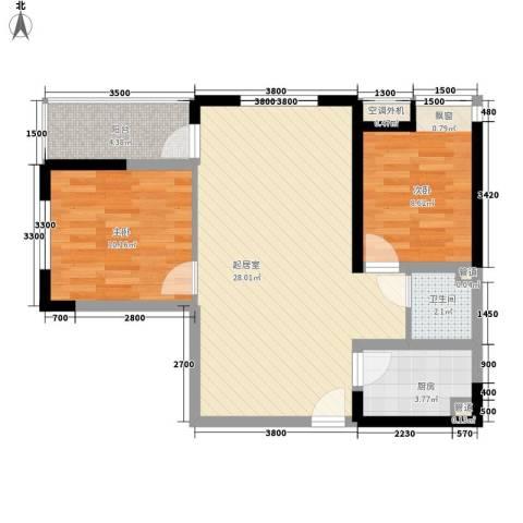 鹿港小镇2室0厅1卫1厨75.00㎡户型图