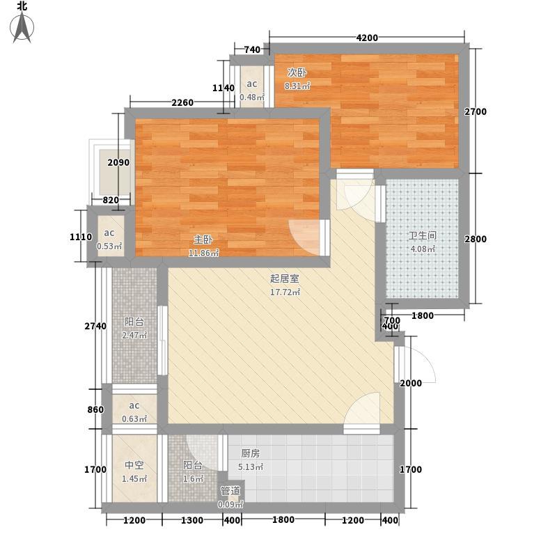 葆芳苑8.00㎡高层02户型2室2厅1卫1厨