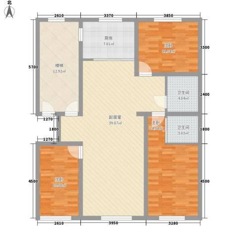 水宜家苑3室0厅2卫1厨129.00㎡户型图