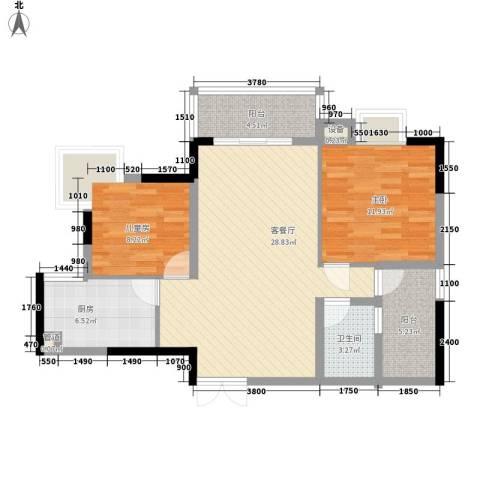 东城中心六期2室1厅1卫1厨116.00㎡户型图