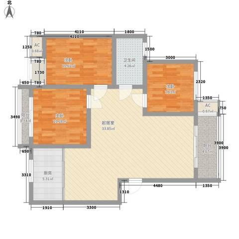 康馨里居3室0厅1卫1厨78.93㎡户型图
