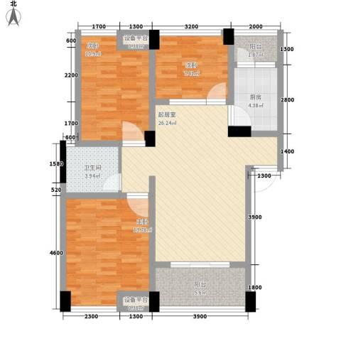 阳光城3室0厅1卫1厨74.86㎡户型图