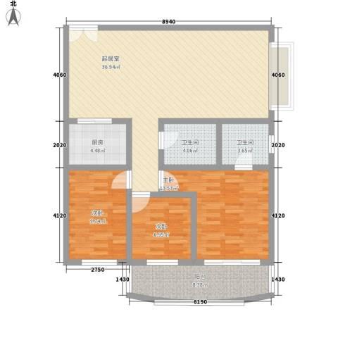 幸福人家3室0厅2卫1厨127.00㎡户型图