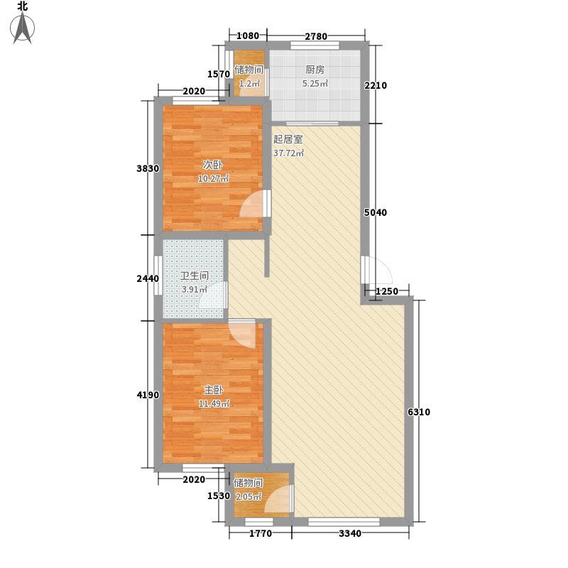 宁馨嘉园1.15㎡L户型2室2厅1卫1厨