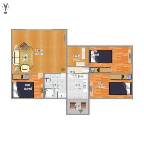 金碧花园3室1厅1卫1厨136.00㎡户型图