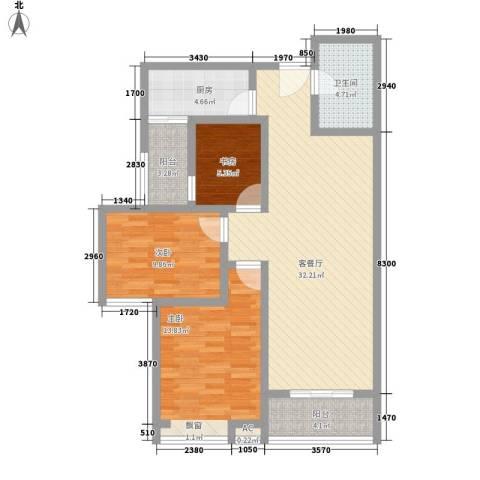 美林湾3室1厅1卫1厨115.00㎡户型图