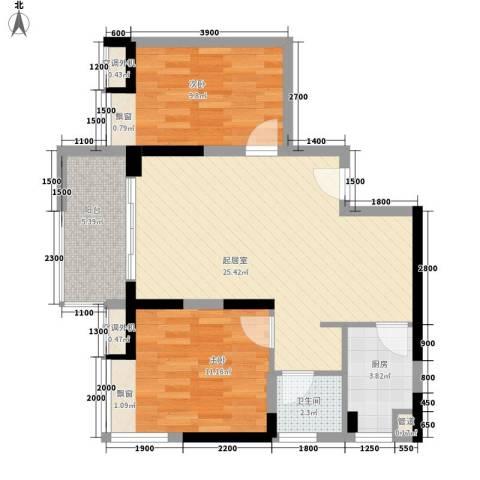 鹿港小镇2室0厅1卫1厨79.00㎡户型图