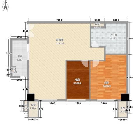 汇银铭尊一期汇银河滨一号2室0厅1卫1厨147.00㎡户型图