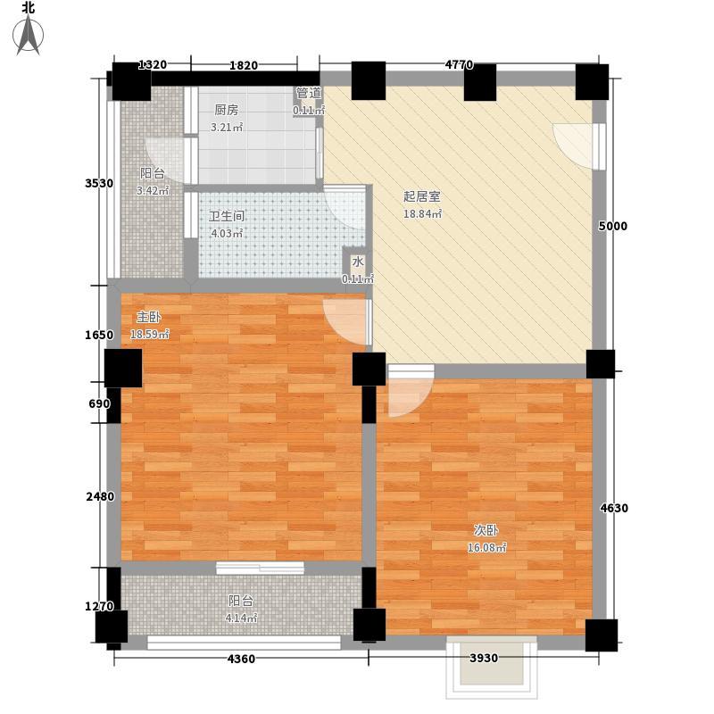 新天地广场13.00㎡D户型2室1厅1卫1厨