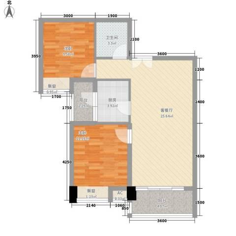 美林湾2室1厅1卫1厨84.00㎡户型图