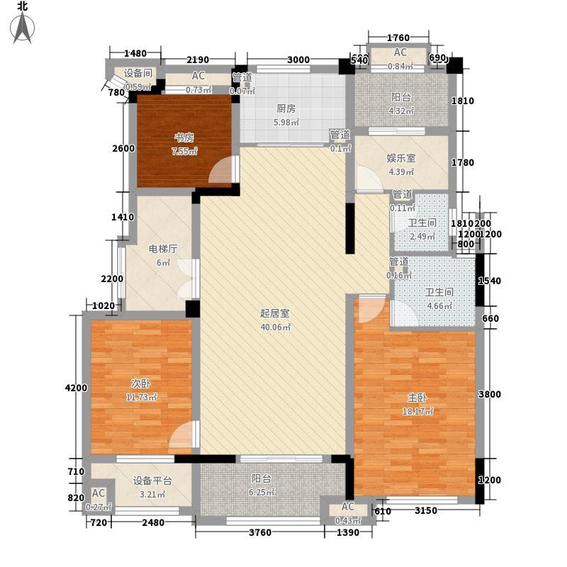旭辉湖山源著135.00㎡洋房Y14-5层拼套户型4室2厅2卫1厨