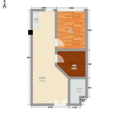 阳光翠苑2室0厅1卫0厨64.00㎡户型图