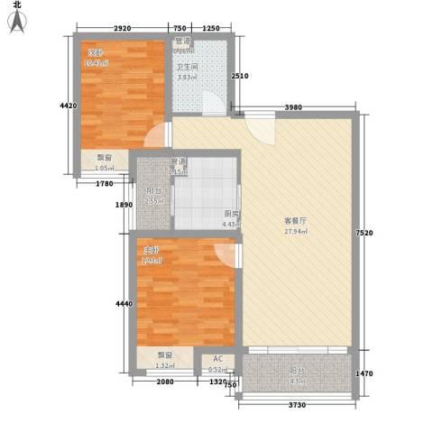 美林湾2室1厅1卫1厨97.00㎡户型图