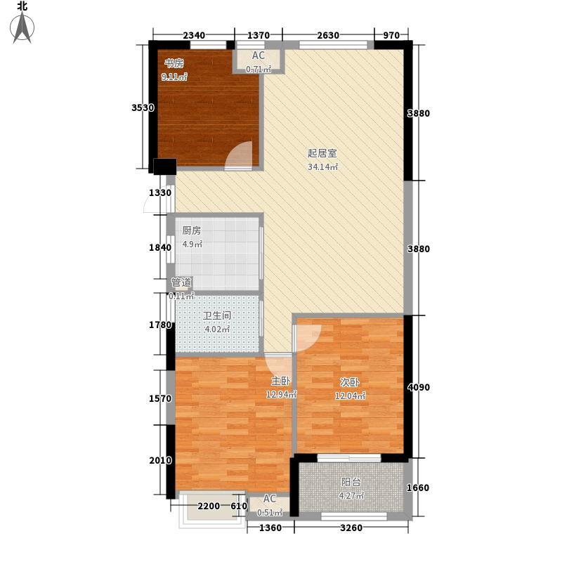 万泰时代城一期5号楼标准层B1户型