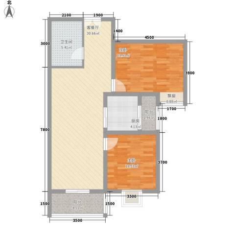 美林湾2室1厅1卫1厨98.00㎡户型图
