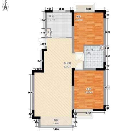 融创上城别墅2室0厅1卫1厨88.00㎡户型图