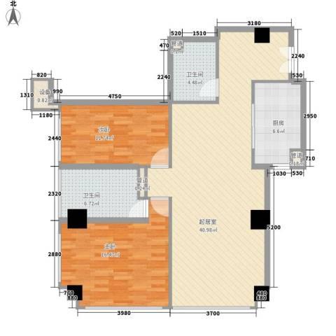 汇银铭尊一期汇银河滨一号2室0厅2卫1厨124.00㎡户型图