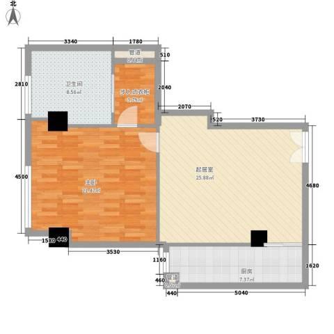 汇银铭尊一期汇银河滨一号1室0厅1卫1厨95.00㎡户型图