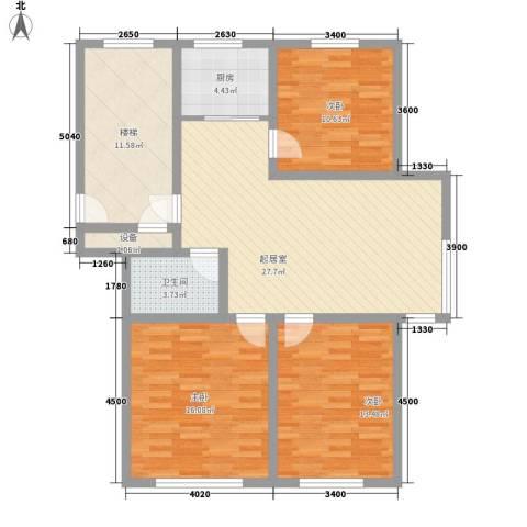 水宜家苑3室0厅1卫1厨108.00㎡户型图