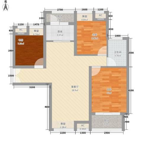 美林湾3室1厅1卫1厨101.00㎡户型图